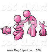 Vector Clip Art of a Friendly Pink Family, Father, Mother and Newborn Baby with Their Dog and Cat by Leo Blanchette