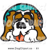 Vector Clip Art of a Friendly Saint Bernard Dog Panting by Andy Nortnik