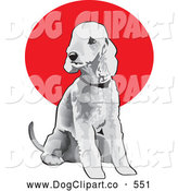 Vector Clip Art of a Friendly Seated Gray Bedlington Terrier Dog Wearing a Collar and Looking off to the Left by David Rey