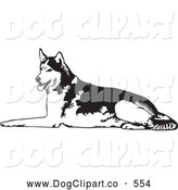 Vector Clip Art of a Friendly Tired Husky Dog Lying on the Ground and Panting After Sledding by David Rey