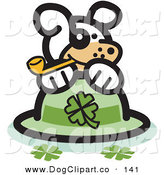 Vector Clip Art of a Friendly White Dog Smoking a Tobacco Pipe and Resting on a St Patrick's Day Hat with Clovers by Andy Nortnik