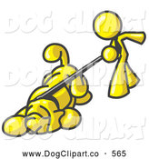 Vector Clip Art of a Friendly Yellow Man Walking a Dog That Is Pulling on a Leash by Leo Blanchette