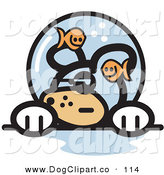 Vector Clip Art of a Goofy and Grumpy White Dog with Fish Making Fun of Him in a Fishbowl Stuck on His Head by Andy Nortnik