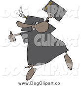 Vector Clip Art of a Graduate Dog Jumping with a Diploma by Djart