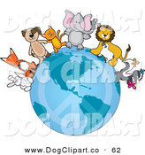 Vector Clip Art of a Group of Happy Animals Standing on the Earth with a Faded Peace Symbol, Standing for Peace on Earth by Maria Bell