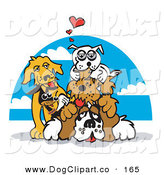 Vector Clip Art of a Group of Happy Dogs Piling on Top of a St Bernard by Andy Nortnik