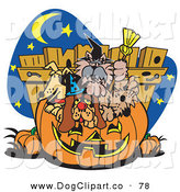 Vector Clip Art of a Group of Many Dogs Crowding into a Carved Halloween Pumpkin by Andy Nortnik