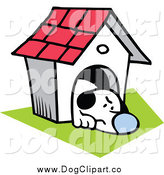 February 19th, 2015: Vector Clip Art of a Grumpy Dog in His House by Johnny Sajem