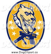 Vector Clip Art of a Guard Dog Pit Bull and Weapons by Patrimonio