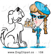 Vector Clip Art of a Happy and Big Spoiled White Dog Waiting As a Woman Serves Him a Tray of Dog Bone Biscuits by Andy Nortnik