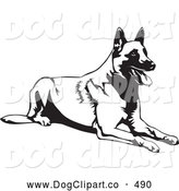 Vector Clip Art of a Happy Belgian Shepherd Dog Canine Lying down and Catching Its Breath by David Rey
