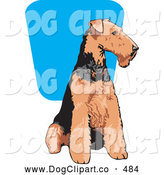 Vector Clip Art of a Happy Brown and Black Airedale Terrier Dog Seated and Looking to the Right by David Rey