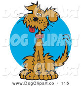 Vector Clip Art of a Happy Brown Dog Clip Art of Friendly Brown Mutt Sitting and Wagging His Tail by Andy Nortnik