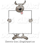Vector Clip Art of a Happy Brown Dog Holding a Blank Sign by Djart