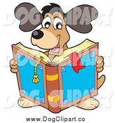 Vector Clip Art of a Happy Brown Dog Reading a Book by Visekart