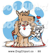 Vector Clip Art of a Happy Dog Holding a Little White Dog in His Arms by Andy Nortnik