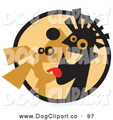 Vector Clip Art of a Happy Dog Licking a Man's Face in a Circle by Andy Nortnik