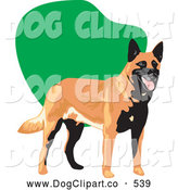 Vector Clip Art of a Happy Dog Standing on a Green and White Background by David Rey