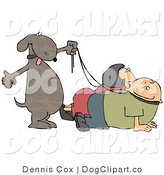 Vector Clip Art of a Happy Dog Walking His Two Pet Owners on Leashes by Djart