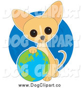 Vector Clip Art of a Happy Earth Day Chihuahua Puppy Resting His Paw on a Globe by Maria Bell