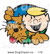 Vector Clip Art of a Happy Freckled Caucasian Blond Boy with His Dog by Andy Nortnik