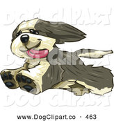 Vector Clip Art of a Happy Furry Bearded Collie Dog Running Freely, His Tongue Hanging Out, After Leaping over the Fence in His Yard by Tonis Pan