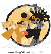 Vector Clip Art of a Happy Pet Dog Licking a Man's Chin by Andy Nortnik
