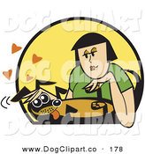 Vector Clip Art of a Happy Weiner Dog Getting His Belly Rubbed by a Caucasian Woman by Andy Nortnik