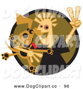 Vector Clip Art of a Happy White Boy Flashing a Peace Sign While Hugging His Dog on Brown by Andy Nortnik