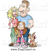 Vector Clip Art of a Happy White Family of Three; Mom, Dad, Daughter and Their Dog by