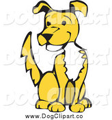 Vector Clip Art of a Happy Yellow Dog Sitting and Wagging His Tail by Xunantunich