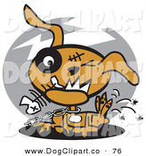 Vector Clip Art of a Happy Zombie Dog Chewing on a Fishbone and Itching Fleas off of His Back by Andy Nortnik