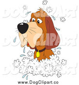 Vector Clip Art of a Hound Dog in a Sudsy Bath by Alex Bannykh