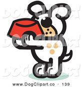 Vector Clip Art of a Hungry White Dog Holding a Red Dog Bowl, Waiting to Be Fed on White by Andy Nortnik
