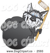 Vector Clip Art of a Husky Dog Grabbing a Hockey Puck by Toons4Biz