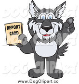 Vector Clip Art of a Husky Dog Mascot Holding a Report Card by Toons4Biz