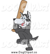 Vector Clip Art of a Husky Dog Playing Baseball by Toons4Biz