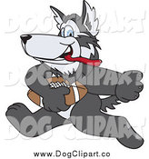 February 22nd, 2014: Vector Clip Art of a Husky Playing Football by Toons4Biz