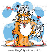 Vector Clip Art of a Large White and Orange Cat with a White Dog on Its Head and Another Dog on Its Arm by Andy Nortnik