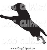Vector Clip Art of a Leaping Silhouetted Dog by KJ Pargeter