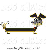 Vector Clip Art of a Long Brown and Black Wiener Dog Wagging His Tail and Looking Left by Andy Nortnik