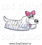 Vector Clip Art of a Long Haired White Dog Wearing a Pink Bow by Visekart
