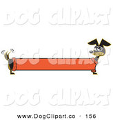 Vector Clip Art of a Long Stretched Black Dachshund Dog in an Orange Sweater, Appearing to Be a Banner by Andy Nortnik