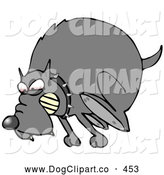 Vector Clip Art of a Mean Mad Dog in the Red Zone, Wearing a Spiked Collar and Chasing an Intruder Away by Djart