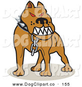 Vector Clip Art of a Mean Pet Pitbull with Red Eyes in the Red Zone, Growling by Andy Nortnik