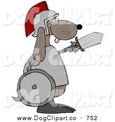 Vector Clip Art of a Military Dog Warrior Carrying a Sword and Shield by Djart