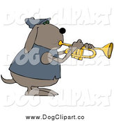 Vector Clip Art of a Musical Dog Playing a Trumpet by Djart