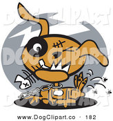 Vector Clip Art of a Neglected Brown Dog on a Chain, Eating Fishbones and Itching Fleas on Gray by Andy Nortnik