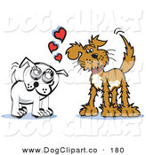 Vector Clip Art of a Pair of Brown and Infatuated Dogs Staring at Eachother and Wagging Their Tails by Andy Nortnik