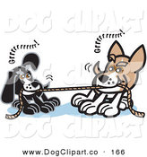 Vector Clip Art of a Pair of Dogs Growling While Playing Tug of War with a Rope by Andy Nortnik